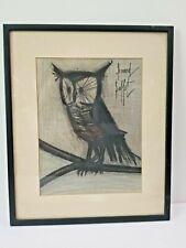 """BERNARD BUFFET SIGNED 1967 Original Lithograph  """"THE OWL""""  Framed"""