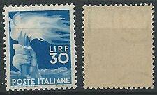 1945-48 ITALIA DEMOCRATICA 30 LIRE FILIGRANA LETTERA MNH ** - ED1069