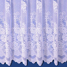 Sally Jacquard Net Curtain In White - Sold By The Metre - Free Postage!