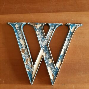 Vintage Distressed Style Metal W Letter Wall Mount. Blue & White. 6 inches high.