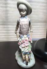 Rare Lladro Wheelbarrow With Flowers 1283 Gardener Boy Cart Figurine Retired
