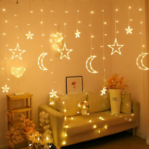 138LED Curtain LED String Fairy Lights with Star Moons Christmas Wedding E7Y0