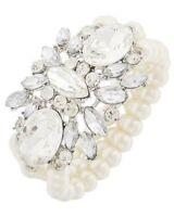 Multi Strand Pearl Clear Glass Rhinestone Bridal Prom Gatsby Statement Bracelet
