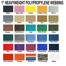 "1 Inch Polypropylene Webbing Heavy Weight 1"" Strap 5 Yards"