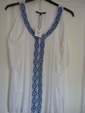 THE COLLECTION WHITE COBALT EMBROIDERED TOP. UK 16, EUR 42-44, US 12. BNWT