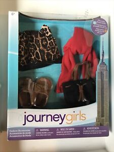 "Journey Girls NEW YORK CITY 4 pc Fashion Accessories Set for 18"" Dolls leopard"