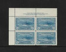 Canada Stamps: MNH Plate Block; $1 1942-43 Destroyer (Ship) #262; PL#1 UL