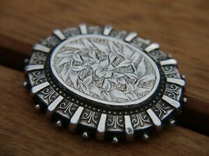 Superb ANTIQUE Victorian Solid Sterling Silver Mourning Locket Back Brooch
