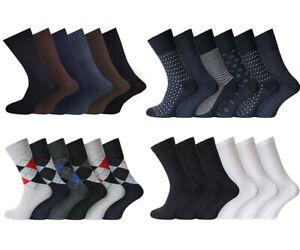 Mens Diabetic Socks Non Elastic Cotton Rich Patterns 3 6 12 Pairs UK 6 - 11 Lot
