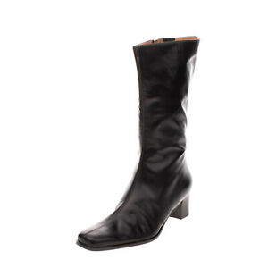 Leather Mid-Calf Boots EU39 UK6 US9 Stacked Block Heel Zip Closure Made in Italy
