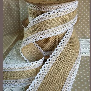 Natural Hessian / Jute Ribbon with White Lace Edge. Bridal Wedding Vintage Bow