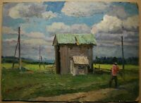 Russian Ukrainian Soviet Oil Painting rural landscape peasant figure haymaking