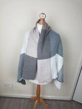 Ladies Large Grey Checked Winter Scarf / Shawl / Blanket / Wrap