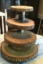 "Offset Rustic Wedding 4 Tier Natural Log Cupcake & Cake Topper Stand(16""base)"