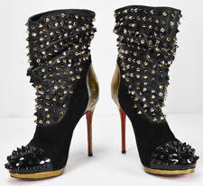Christian LOUBOUTIN Spike Wars Stiletto Booties Slouchy Boots Size 35 Italy