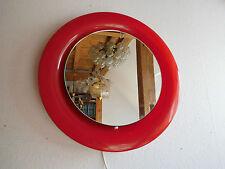 beleuchteter Wandspiegel 70er  Panton Ära Designer Spiegel Rund Rot 58 cm