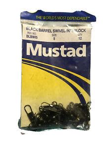 Size 5 (QTY 12) Mustad Black Barrel Swivel-Interlock. New