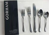 5 Piece GORHAM Studio Flatware  18/10 Stainless Steel Fork Knife Spoon Teaspoon