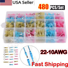 480pcs Heat Shrink Wire Connectors Assortment Crimp Terminals Marine Case Kit US