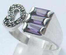 Ring AMETHYST+ MARKASIT; 925er Sterlingsilber, Ringgröße 57 + 58 (18,2+18,5) mm