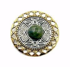 Irish Connemara Marble Pin with Mulingar Pewter Medallion