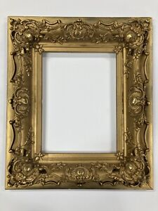 Antique Ornate Wood  Gold Gesso Gold Frame 9 x 12 ID Baroque Style