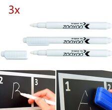 3 pcs White Liquid Chalk Pen/Marker for Glass Windows Chalkboard Blackboard NEW