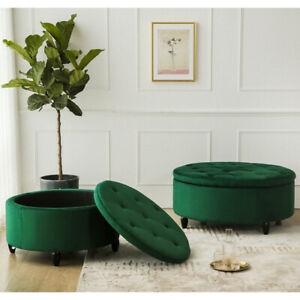 Large Chesterfield Button Pouffe Ottoman Storage Footstool Fireside Coffee Table