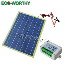 Waterproof Portable 20W Epoxy Solar Panel W/ Cable & Battery Clip & Controller