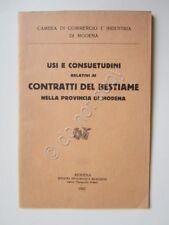 Usi e Consuetudini Relativi ai Contratti i Bestiame a Modena 1927 Fiere Mercato