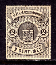 LUXEMBOURG #14 2c BLACK, 1867 ROULETTED, F, OG-HINGED