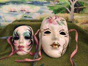 Vintage Carnival Masks signed Porcelain & 6  small mask Ornaments