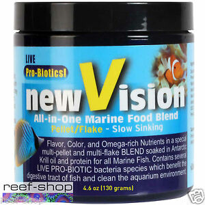 Fish Food Pellet V2O New Vision All In One Marine 4.6 oz FREE USA SHIPPING