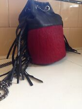 New Genuine Leather Made In Italy Black Fringed Cow Hair Chain Crossbody Bag