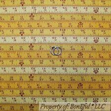 BonEful Fabric Cotton Quilt Yellow Tape Measure Construction Wood USA Sale SCRAP