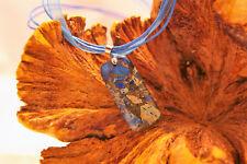 Dark blue sea sediment jasper agate pendant on blue cord and organza necklace