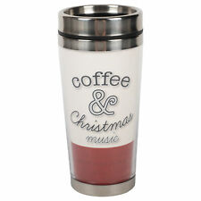 Coffee & Holiday Music Red 16 ounce Stainless Steel Travel Tumbler Mug with Lid