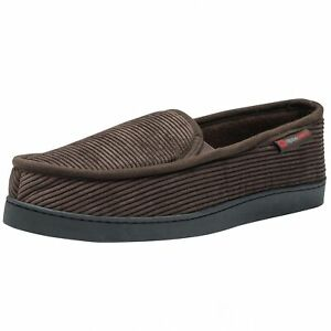 Alpine Swiss Mens Wide Moccasin Slippers Memory Foam Slip On Indoor House Shoes