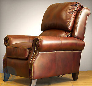 New Barcalounger Churchill II Genuine Art Burl Leather Recliner Lounger Chair