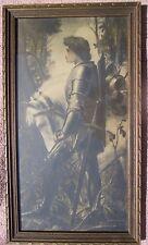 antique vint Knight SIR GALAHAD & WHITE HORSE FRAMED PRINT Campbell Prints Inc
