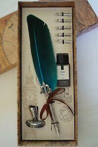 Vintage Style - Calligraphy Feather Quill Metal 5 Nib Dip Pen Set - Holder & Btl