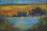 """5x8 Original Pastel Painting Landscape """"Orchard Pond"""" Gold Blue Country Serene"""