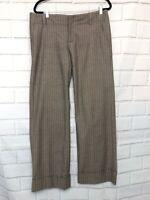 Banana Republic Women's Stretch Brown Gray Chevron Print Pinstripe Pants Size 10