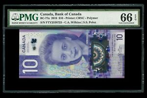 Canada 🇨🇦 2018 - $10 Polymer Banknote BC-77a - PMG Gem UNC 66 EPQ