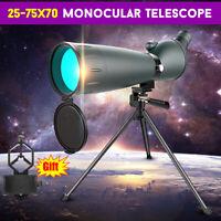 25-75X70 Zoom HD Monocular Telescope Day Night Vision Spotting Scope Waterproof
