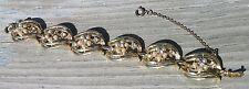 Vintage Coro Bracelet Faux Pearl Clear Rhinestone Flower Gold Tone