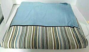 Martha Stewart Everyday Bathroom Shower Curtain Blue Biege Stripe Cotton Fabric