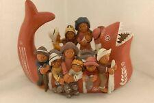 Peru Hand-Made Vintage Terracotta Fishing Family Figurine