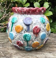Vintage Retro Italian Colourful Drip Glaze Raised Spot Ceramic Planter Vase Pot