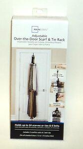 MAINSTAYS Adjustable Over-The-Door Scarf & Tie Rack NIB
